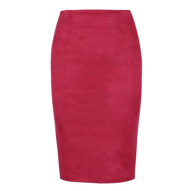 High Waist Suede Pencil Skirt 3
