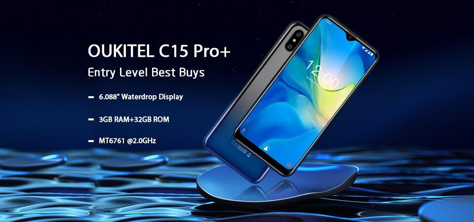 HTB1OIaFXAH0gK0jSZPiq6yvapXa7 OUKITEL C15 Pro+ 6.088'' 19:9 Android 9.0 Cellphones 3GB 32GB MT6761 Waterdrop 4G Smartphone Fingerprint Face ID 5G WiFi Phone
