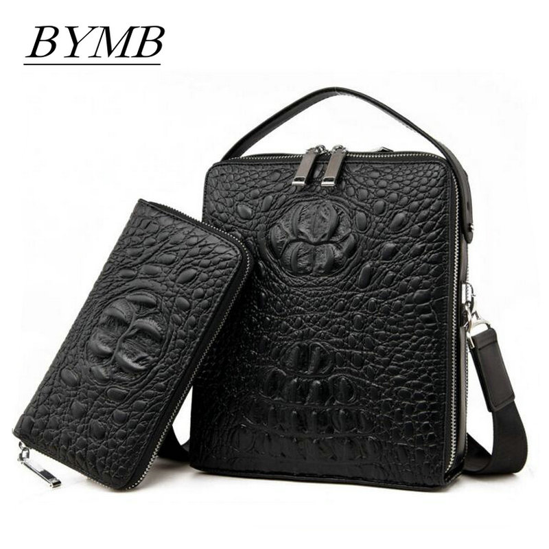 Brand package 2017 Men's Genuine leather handbag for men Business casual crocodile skin single shoulder bag Fashion Crossbody tihinco new authentic crocodile handbag single shoulder bag leather male fashion business and leisure bag document package