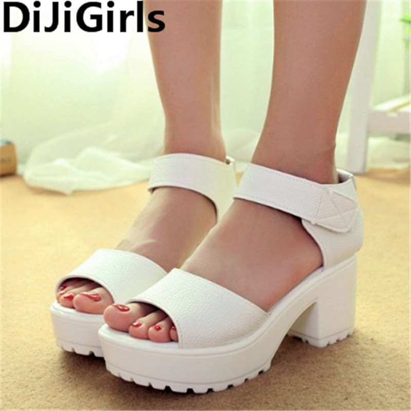 Fashion Women Summer Shoes White Black Platform Soft PU Sandals Women's High-Heeled Shoes Thick Heel Sandals Flip Flop women creepers shoes 2015 summer breathable white gauze hollow platform shoes women fashion sandals x525 50