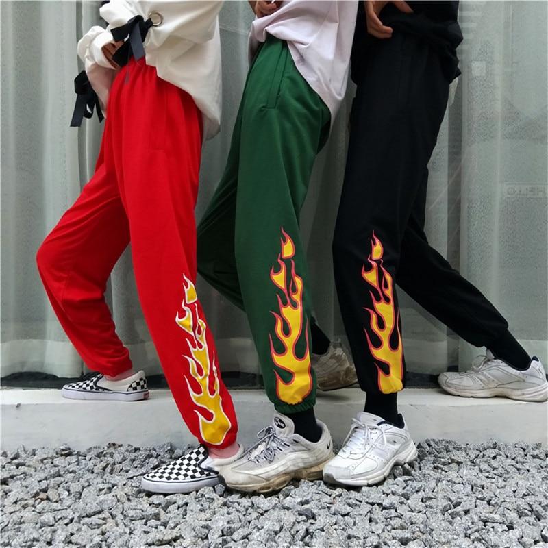 Harajuku Flame Print Pants Women Elastic Waist Straight Casual Hipster Trousers Pant For Men Women