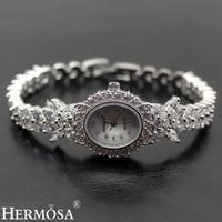 Hermosa Valentine Gifts Women Quartz Wristwatch Whitetopaz Watch Lady Sterling Silver Links Bracelet Jewelry 7.5 Inches H8113