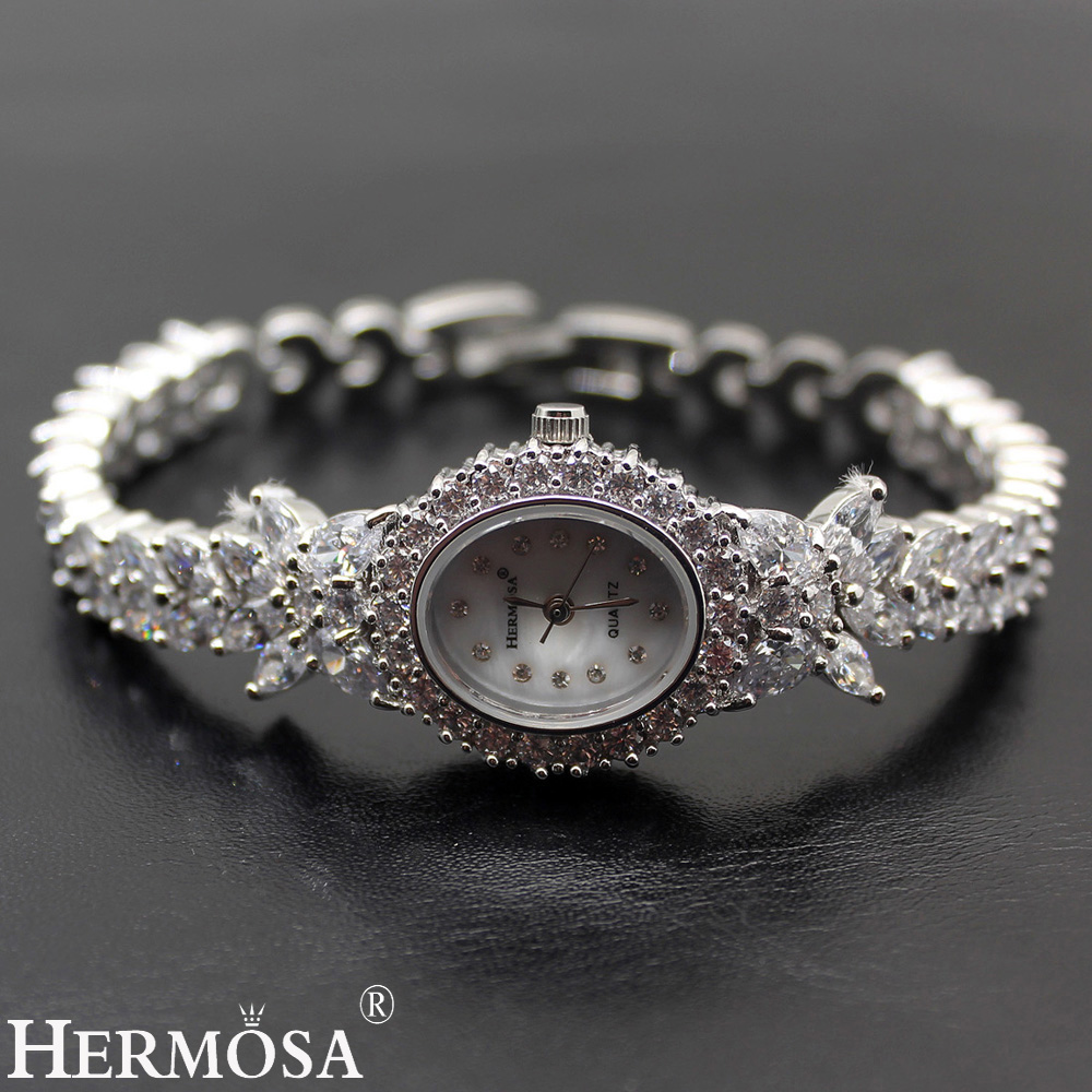 Hermosa Valentine cadeaux femmes Quartz montre-Bracelet Whitetopaz montre dame en argent Sterling liens Bracelet bijoux 7.5 pouces H8113