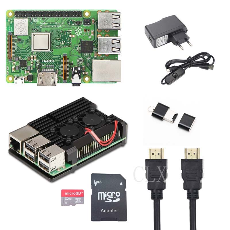 Raspberry Pi 3 Model B+ Starter Kit + Al Shell With Fan + 16GB/32GB Card + 5V 2.5A + HDMI Cable  For RaspberryPi 3B+