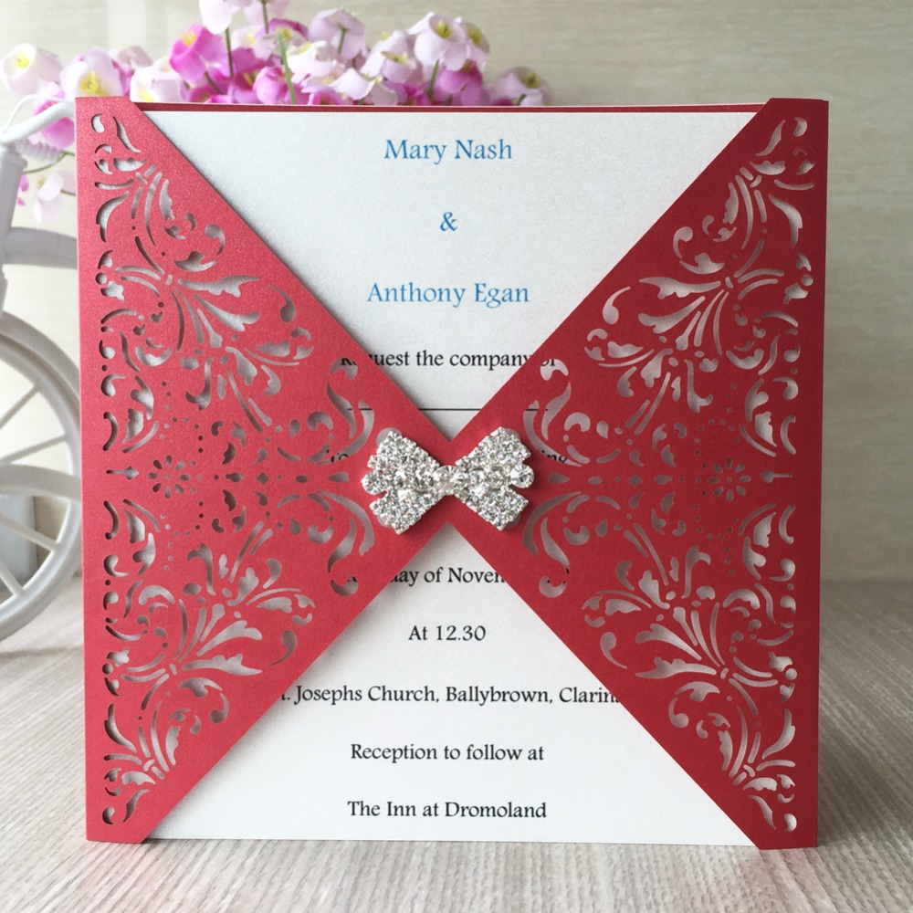 Hot Sale 50PCS/Lot Wedding Invitation Card Pearl Paper White Color ...