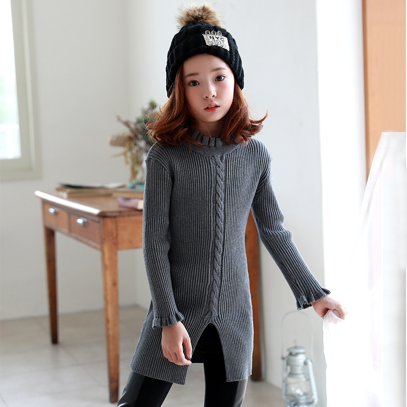 Girls Sweater Dresses Kids 2018 Spring New Dress Teenage Girls Knitted Dress with Long Sleeve Grey Girls Long Sweater 10 12 Year snowflake long sweater