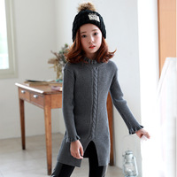 Kids Girls Sweater Dresses 2016 Spring New Teenage Girls Knitted Dress With Long Sleeve Black Red