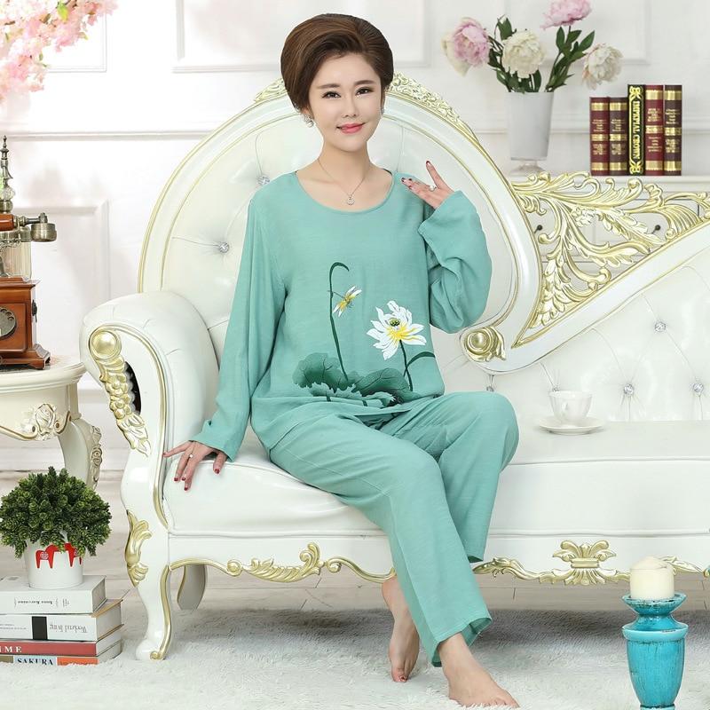 Green New Women Casual   Pajamas     Set   Home Clothes Lady Print Cotton Pyjamas 2019 Spring Autumn Flower Nightwear M L XL XXL YZ91