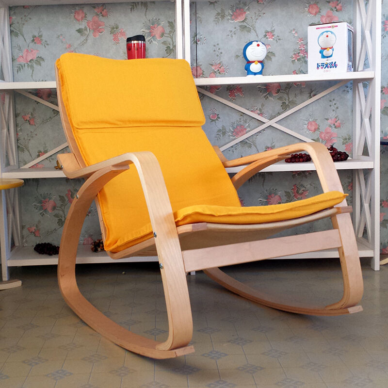 Comfortable Relax Rocking Chair Gliders Lounger Cotton Fabric Cushion Seat Living Room Furniture Modern Adult Rocking Chair Wood