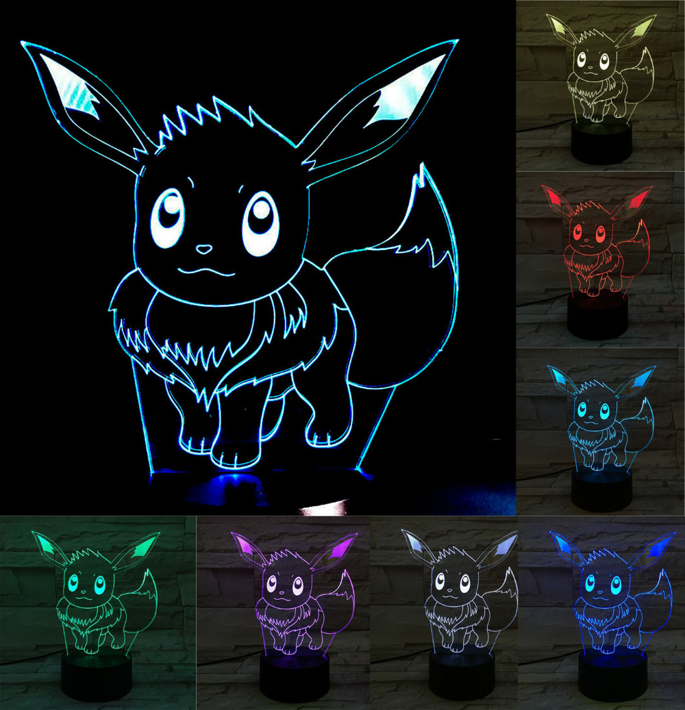 Pokémons Anime Minion Bande Dessinée 3d Usb Led Night Light 7 Couleurs Visuel Veilleuse Lampe Tactile Enfants Salon Chambre Table Lampe De Bureau Aliexpress