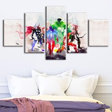 Home Decor Canvas Wall Art The Avengers Painting Marvel Movie Picture Printing Watercolor Modular Artwork Poster For Living Room