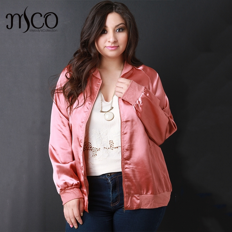 a53745566 Casual Plus Size Woven Satin Soft Bomber Jacket Premium Baseball ...
