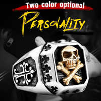 KLDY Punk männer der finger Ring schädel edelstahl Gold Ringe für männer biker jungen Ring Piraten finger halter schmuck großhandel