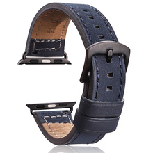Купить с кэшбэком Genuine Leather Watchband 4 Colors For Apple Watch 38mm 42mm Women Men Watch Band Strap Iwatch Bracelet