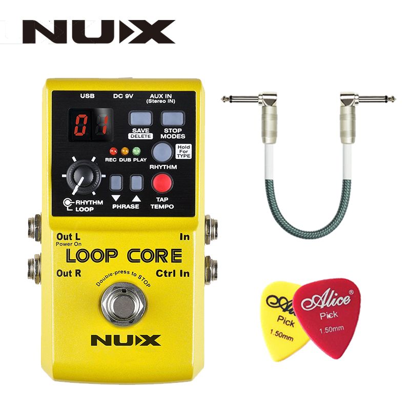 NUX Loop Core, guitarra Pedal de Efectos, Looper, 6 Horas de Tiempo de Grabación, 99 Memorias de Usuario, Patrones de batería con TAP Tempo con regalo