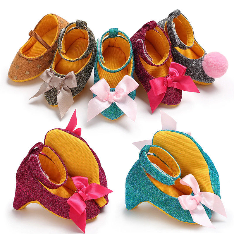 Cute Infant Baby Girl Shoes High Heels for Photos Princess Toddler Bow Crib Shoes 0-12M US