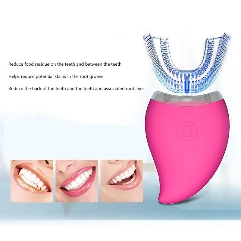 Nouveau Style d'amour désinfection automatique U forme minuterie Ultra sonique silicone étanche brosse à dents électrique sans fil Rechargeable 3 Modes