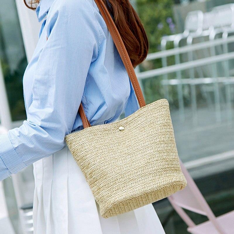Women Straw Shoulder Bag PU Leather Strap Handbag Beach Travel Casual Messenger Bags New