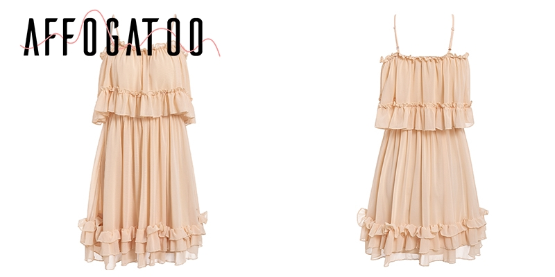 Affogatoo Elegant ruffle off shoulder strap summer pink dress women Casual chiffon pleated blue dress Loose holiday short dress 15