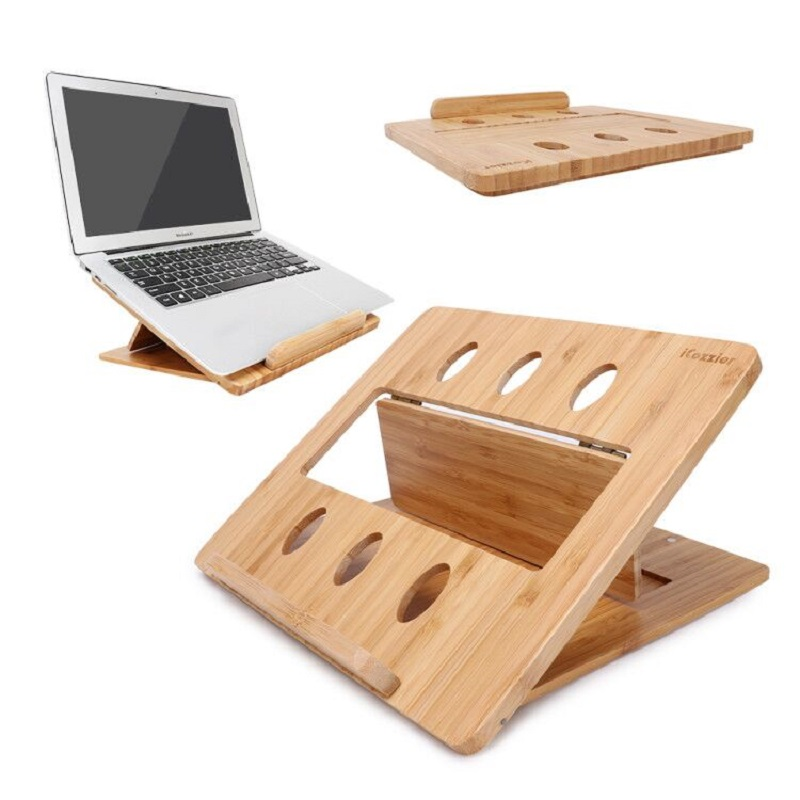 iCozzier Bamboo Foldable Laptop Stand Holder Adjustable Notebook Computer Tablet