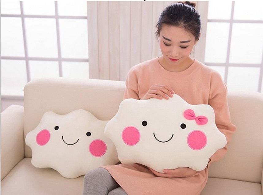 35CM*28CM Kawaii Soft Smiley Face Bow Cloud Pillow Cotton Stuffed Cushion Plush Doll Toys White Pillow For Kids soft emoji smiley cushion yellow stuffed plush toy doll 18 style