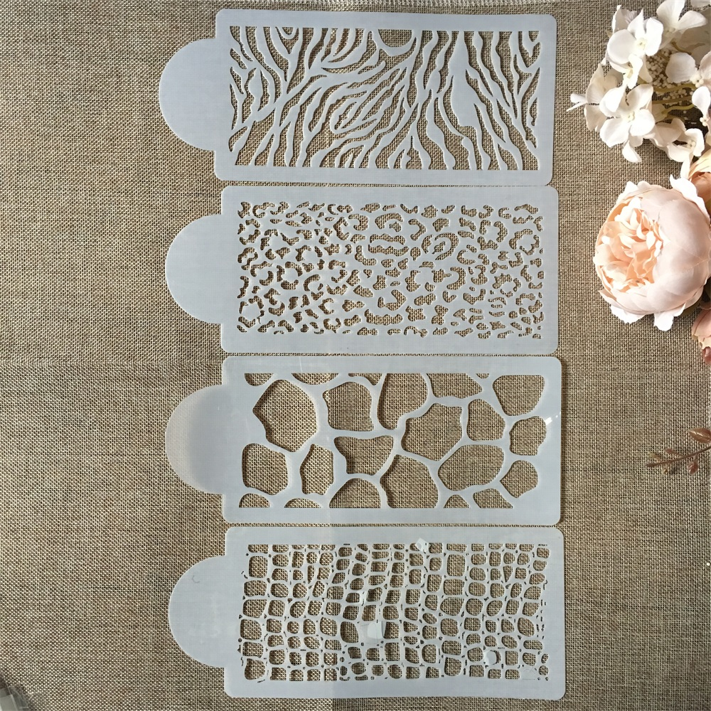Hot 4Pcs/Set 26.5cm Flower Texture DIY Layering Stencils Wall Painting Scrapbook Coloring Embossing Album Decorative Template