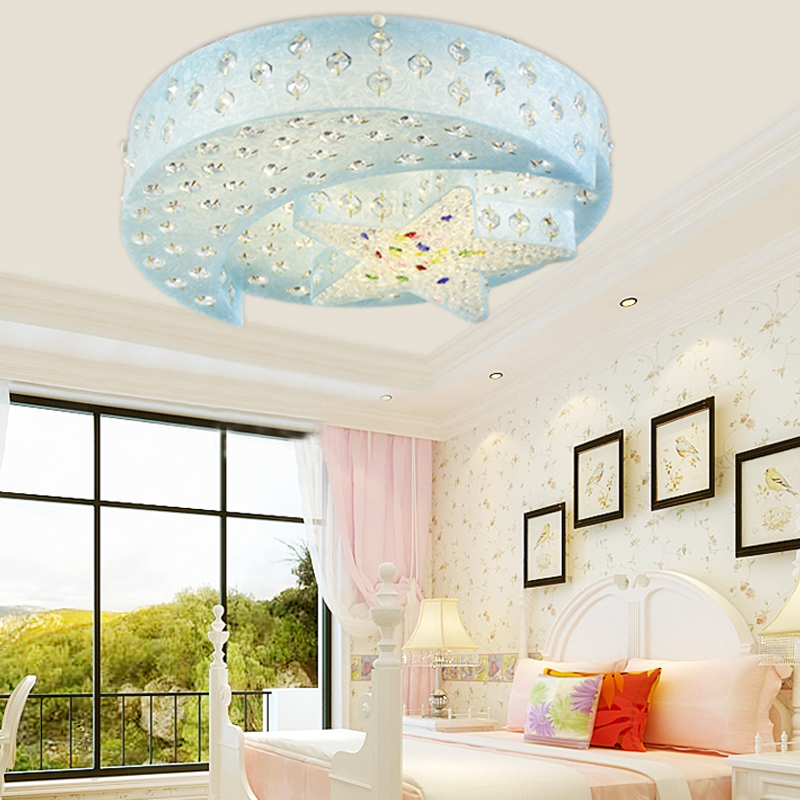 Moon Lights Bedroom: Star Moon Ceiling Light Male Bedroom Crystal Lamp Girl