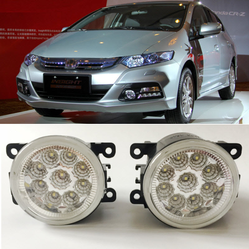 Car Styling For Honda Insight 2010 2011 2012 2013 2014 9-Pieces Leds Chips LED Fog Light Lamp H11 H8 12V 55W Halogen Fog Lights hot sale abs chromed front behind fog lamp cover 2pcs set car accessories for volkswagen vw tiguan 2010 2011 2012 2013