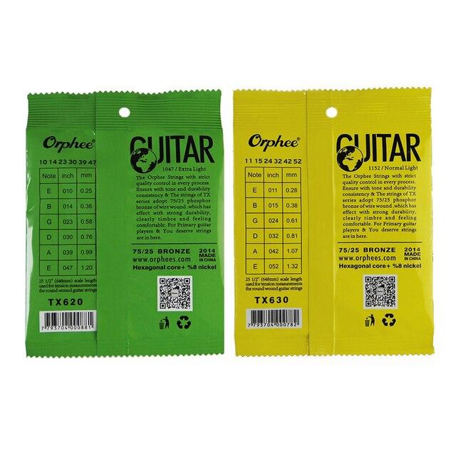 Orphee 1 SET ACOUSTIC Guitar String Hexagonal core+8% nickel FULL,Bronze Bright tone& Extra light Extra Light Medium 5