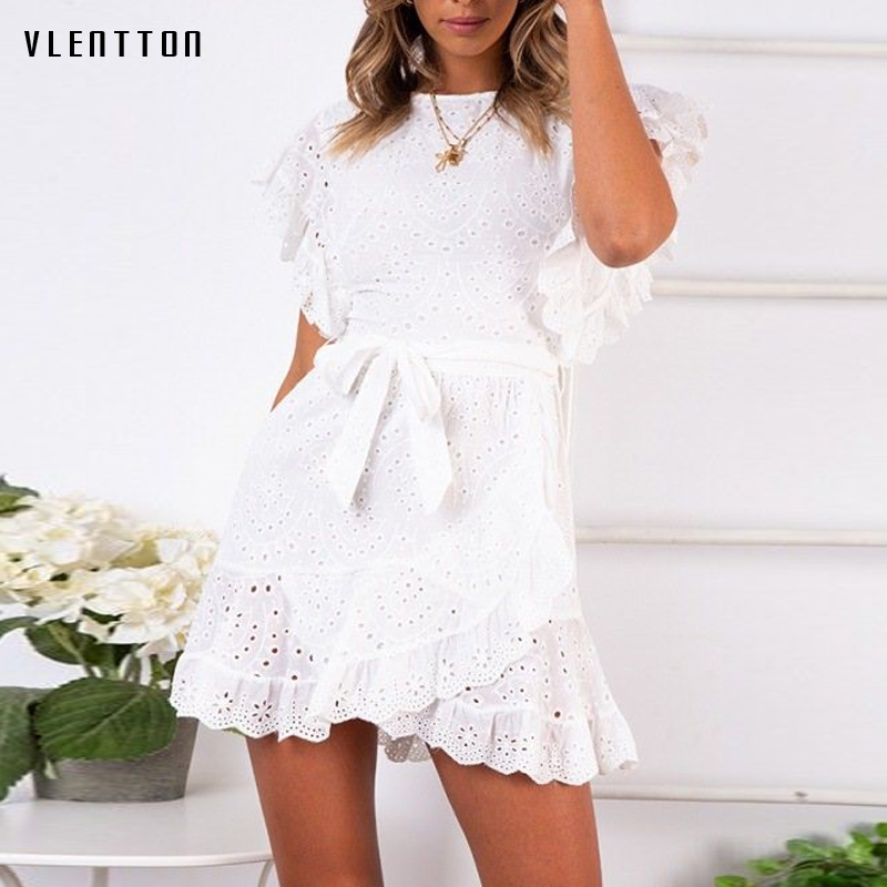 Sexy Hollow out Lace Dress For Women Embroidery Ruffle Short Sleeve White Beach Dress Belt Mini A line Women 39 s Dresses Vestidos in Dresses from Women 39 s Clothing