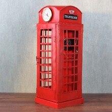 Ручной работы ретро гладить телефонная будка с часы и античный телефон творческая студия украшения для гардероба