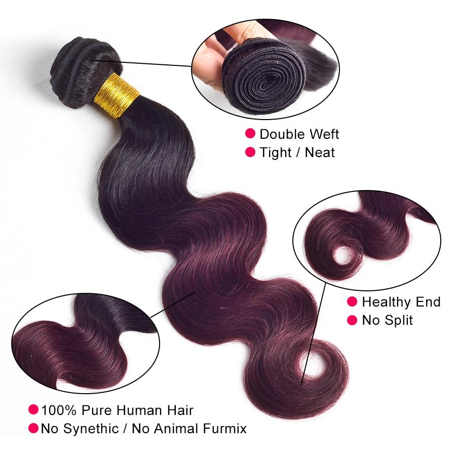 3 Bundle Deals Омбре Бразильський Об'ємна - Людське волосся (чорне) - фото 4