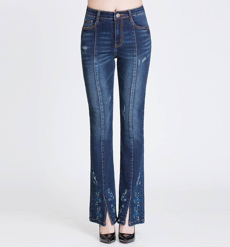 KSTUN FERZIGE Jeans Women Dark Blue Boot Cut Embroidered Hollow Out Flared Pants High Waist Stretch Long Trousers Mom Jeans Push Up 36 16