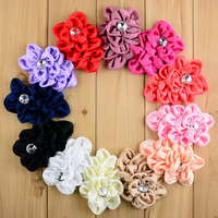 Wholesale 200pcs/lot Handmade 3.9 inch Satin Flower With Rhinestone girl Hair Accessories 12 colors Free Shipping FH13