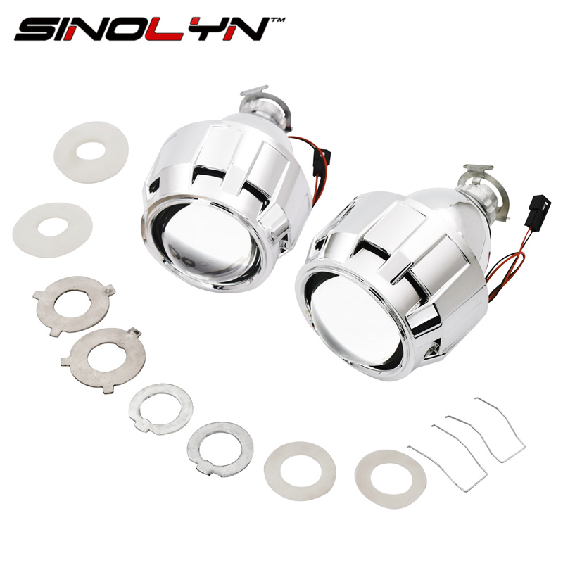 SINOLYN Car Styling Mini 2.5 inches WST HID Bi xenon Headlight Projector Lens Retrofit DIY H7 H4 Headlamp Lenses, Use H1 Bulbs sinolyn 35w 3 0 inch bi xenon square lens projector hid headlights full metal headlamp glasses lenses diy kit hi lo car styling