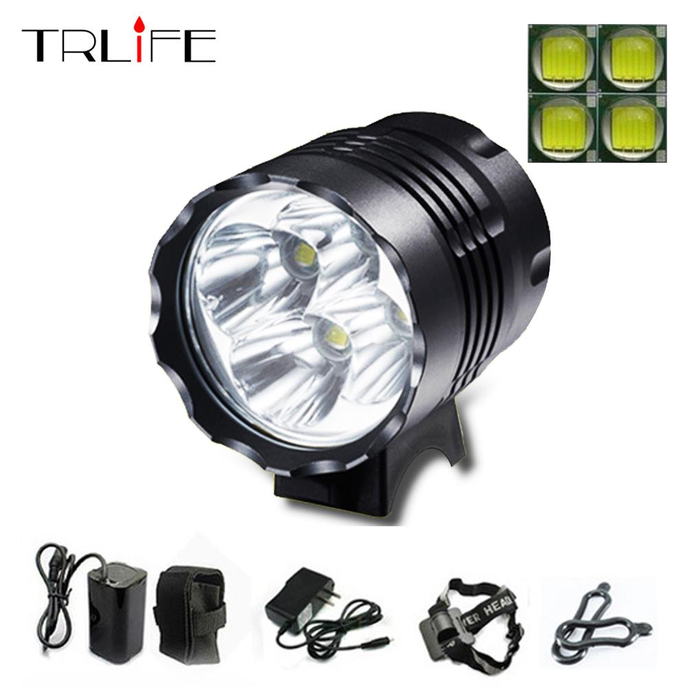 4000 Lumens Headlight 4 x  T6 LED Bike Bicycle Light  LED HeadLight Headlamp +6400mah Rechargeable battery Pack+charger