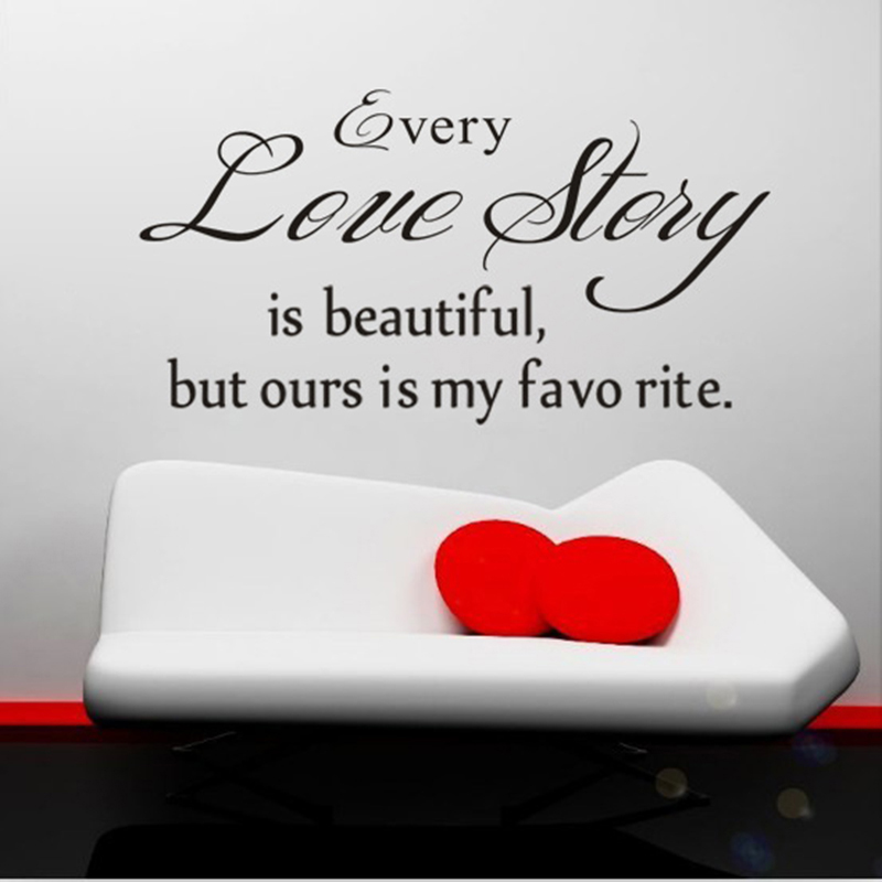 English Quote Wall Stickers Home Decor Every Love Story Is Beautiful Vinyl Lettering Words Wall Art Quote Decals Bedroom Pvc