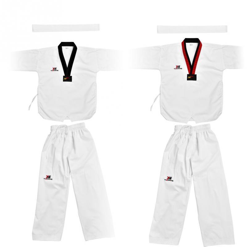 Белый таэквондо равномерной полный хлопок тхэквондо Единая Sportwear карате костюм для взрослых и детей кунг-фу боевых искусств костюм
