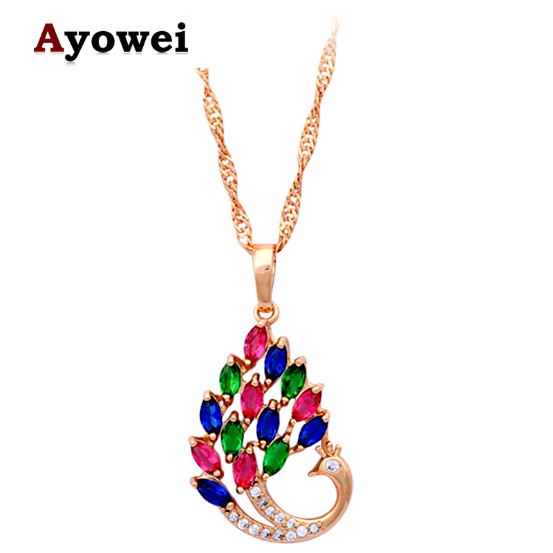 Color peacock design in style necklaces aaa zircon gold tone necklaces pendants for women Design and style fashion jewelry