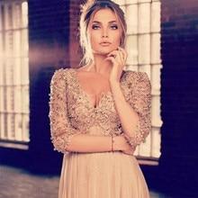 Vestidos De Fiesta Hot Sale Fashion Elegant Top 3/4 Long Sleeves Prom Dresses V-neck Beading Chiffon Sexy 2015 Evening Gowns