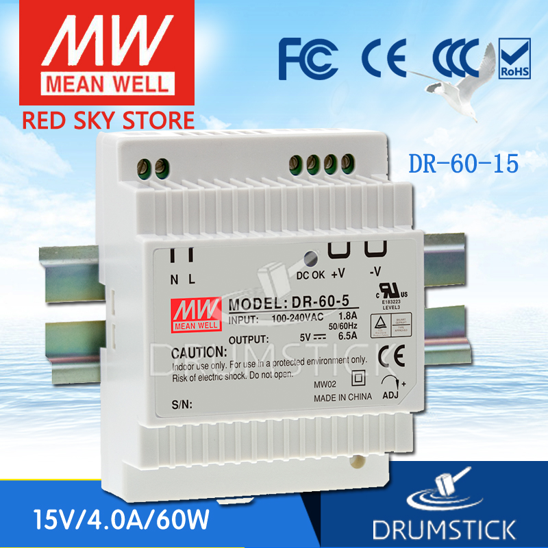 Genuine MEAN WELL DR-60-15 15V 4A meanwell DR-60 60W Single Output Industrial DIN Rail Power Supply [sumger2] mean well original dr 100 15 15v 6 5a meanwell dr 100 15v 97 5w single output industrial din rail power supply