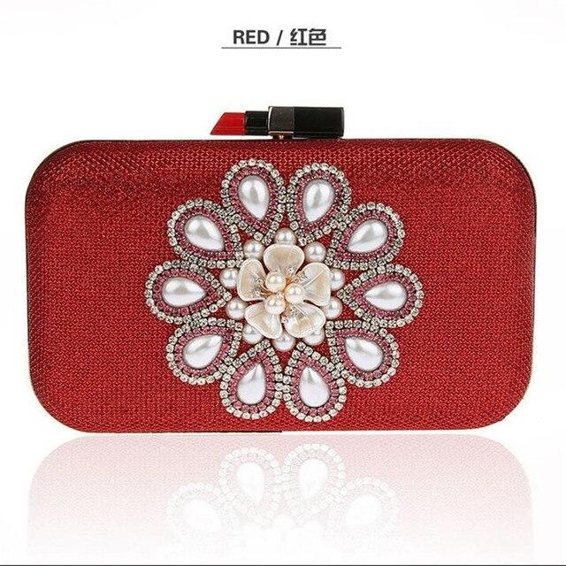Fashion Lipstick Evening Clutch Bag Pearls Flower Wedding Evening Bag Gold Silver Day Clutch Red Black Blue Party Purse Handbags