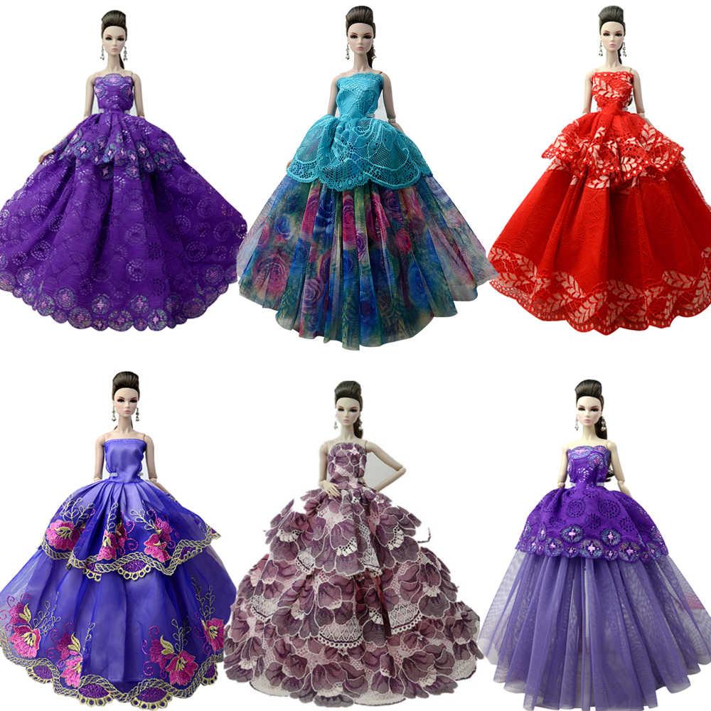 Nk um pçs 2020 princesa vestido de casamento nobre vestido de festa para barbie boneca design de moda roupa melhor presente para meninas boneca 058a jj