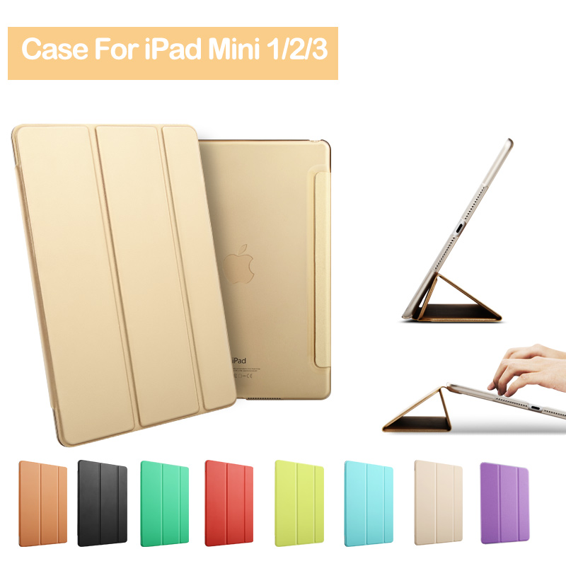 For Apple iPad mini 1 2 3 PU Leather Smart Case Stand Magnetic Auto Sleep Wake UP Pouch Cover For mini iPad 1/2/3 remote control color fish tank bubble lamp fish tank diving lamp led oxygen lamp aquarium led lamp