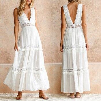 2019 été nouvelle mode femmes profonde V plage vacances Style élégant dentelle Sexy robe dos nu découpe été longue robe femme Whit