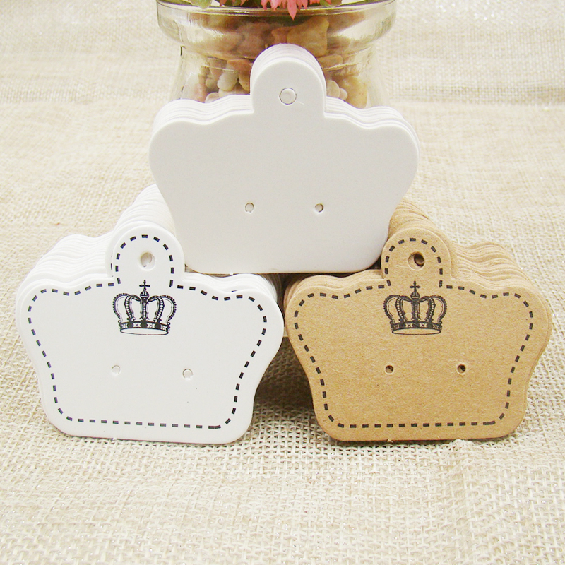 4*5cm  Crown Shape Blank/white/ Kraft Paper Ear Studs Jewelry Display Card100+100opp Bags For Earring Paper Earring Hang Cards