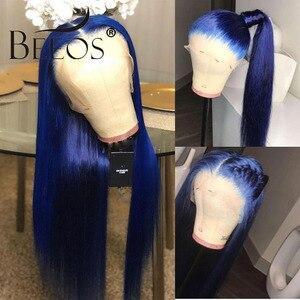 Image 3 - Beeos Farbige Blau 150% 13*6 Spitze Front Menschliches Haar Perücken Pre Gezupft Haaransatz Brasilianische Spitze Perücke mit Baby haar Remy