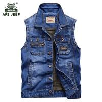 AFS JEEP 2017 Europe men's autumn casual brand cowboy vest jacket spring man 100% cotton waistcoat fashion denim blue vests coat