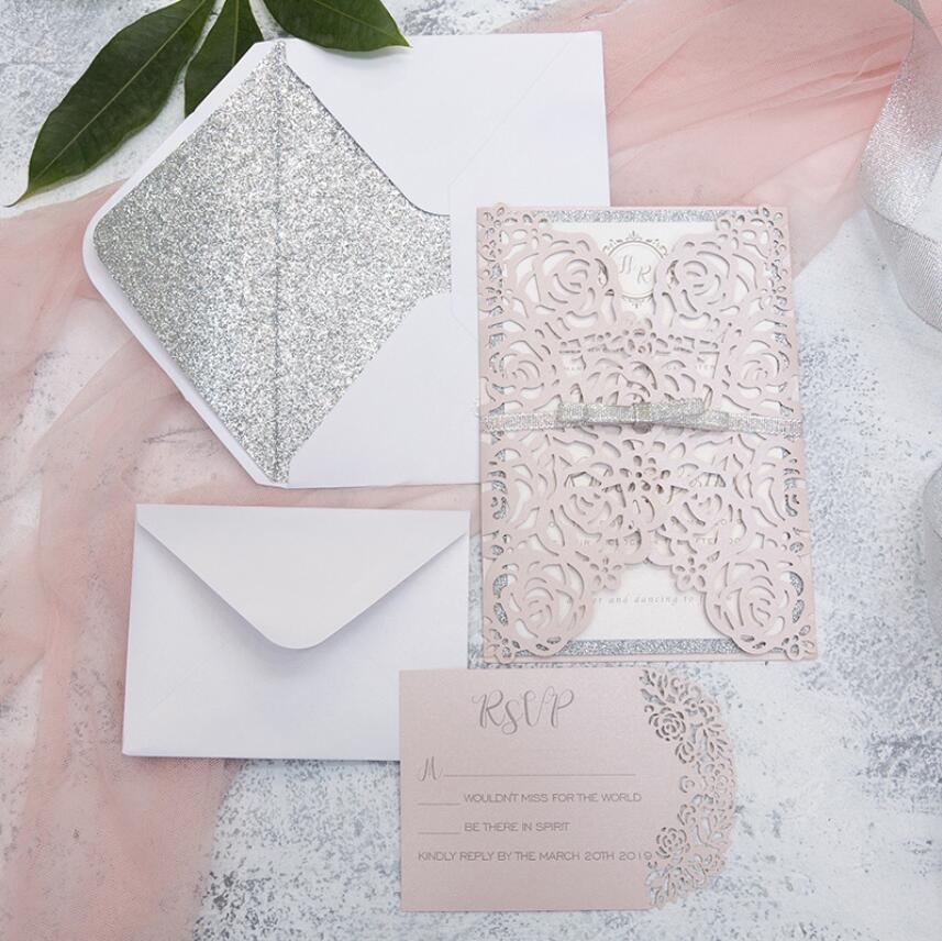 100 invitation card with glitter liner and envelope