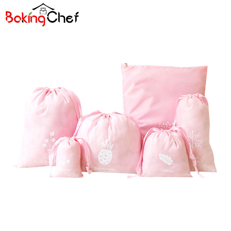 BAKINGCHEF 6 pcs/set Drawstring Storage Bags Fashion Women Clothing Makeup Underwear Socks Pouch Travel Organizer Accessories